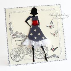 kobieta,sukienka,rower,koronka - Kartki okolicznościowe - Akcesoria