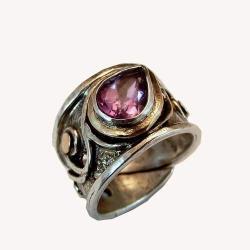 pierścionek ze złotem i ametystem - Pierścionki - Biżuteria