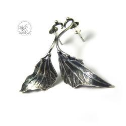 Kolczyki sztyfty ze srebrnym listkiem. - Kolczyki - Biżuteria