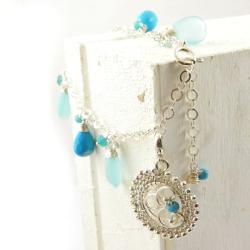 bransoletka,wrapping,niebieska,srebro,charms - Bransoletki - Biżuteria