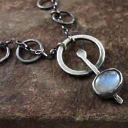 kamień księżycowy,moonstone,surowy,kuty - Wisiory - Biżuteria