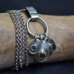 naszyjnik z kamieniami,z karneolem,z labradoryte - Naszyjniki - Biżuteria