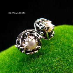 Nehesi,Kolczyki,wkrętki,z perłami,Srebra,sztyfty - Kolczyki - Biżuteria