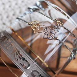 srebro oksydowane,srebro złocone,pik,serce - Naszyjniki - Biżuteria