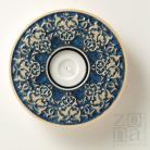 Ceramika i szkło świecznik,lampion,srebrno niebieski,ceramiczny