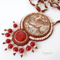 naszyjnik,haft koralikowy,agat koronkowy - Naszyjniki - Biżuteria