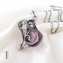 naszyjnik srebrny,ametyst,fioletowy,ażurowy - Naszyjniki - Biżuteria