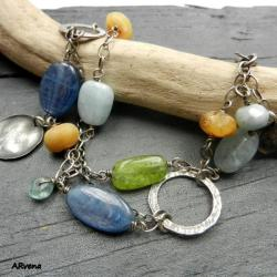 bransoletka,kyanit,akwamaryn,oliwin - Bransoletki - Biżuteria