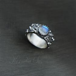 srebrny,pierścionek,szeroki,ozdobny,misterny - Pierścionki - Biżuteria