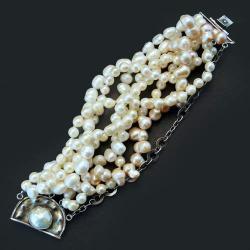 wypasiona bransoleta z perłami - Bransoletki - Biżuteria