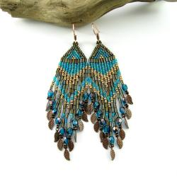 kolczyki,boho,długie,frędzle,etno,indiańskie - Kolczyki - Biżuteria