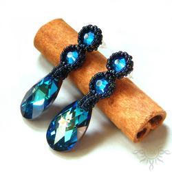 bermuda,swarovski,niebieskie,błyszczące, - Kolczyki - Biżuteria