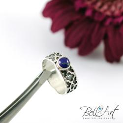 lapis lazuli,zdobiona obrączka,elegancki - Pierścionki - Biżuteria