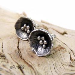 Kolczyki srebrne maki - Kolczyki - Biżuteria