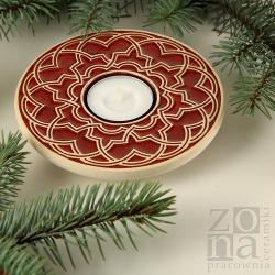 lampion,świecznik,ceramika,czerwony,świąteczny - Ceramika i szkło - Wyposażenie wnętrz