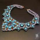 Naszyjniki haft koralikowy,turkusy,kolia,perłowy