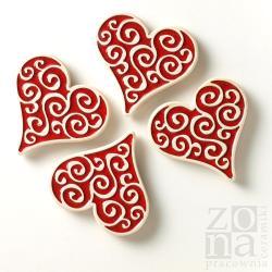 magnesy,ceramiczne,czerwone,serca,serduszka - Ceramika i szkło - Wyposażenie wnętrz