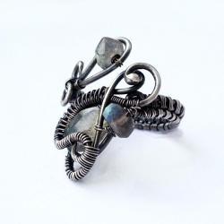 pierścionek srebrny,pierścionek z labradorytem - Pierścionki - Biżuteria