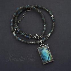 naszyjnik,srebrny,z labradorytem,geometryczny - Naszyjniki - Biżuteria