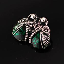 wire-wrapping,wrapped emerald,swarovski,sztyfty,ag - Kolczyki - Biżuteria