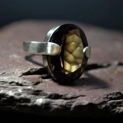 wielki kwarc dymny,minimalistyczna oprawa - Pierścionki - Biżuteria