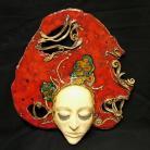 Ceramika i szkło twarz,czerwień,maska,dekoracja