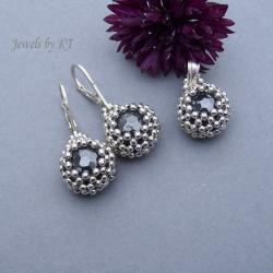 kolczyki,wisior,koronka,srebro,hematyt - Komplety - Biżuteria