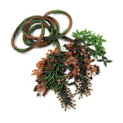 lariat koralikowy,długi naszyjnik,jesień - Naszyjniki - Biżuteria
