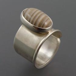 pierścionek z krzemieniem pasiastym - Pierścionki - Biżuteria