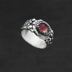 srebrny,pierścionek,szeroki,z turmalinem - Pierścionki - Biżuteria