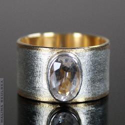 obrączka,akwamaryn,diamentowana,złocona - Pierścionki - Biżuteria