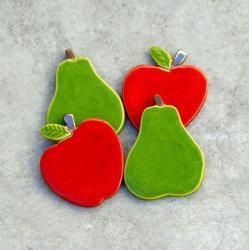 jabłka,gruszki,owoce,magnesy,kuchenne, - Magnesy na lodówkę - Wyposażenie wnętrz