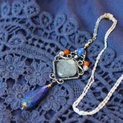 srebro oksydowane,srebro złocone,lapis lazuli - Wisiory - Biżuteria