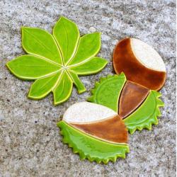 kasztany,jesień,liść,magnesy - Ceramika i szkło - Wyposażenie wnętrz