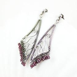 kolczyki,wire-wrapping,srebro,lekkie,granaty, - Kolczyki - Biżuteria