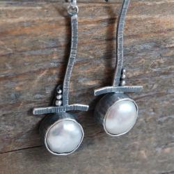 srebrne kolczyki z perłami - Kolczyki - Biżuteria