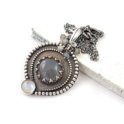 wisiorek,retro,labradoryt,delikatny,srebrny - Wisiory - Biżuteria