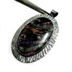 srebrny,fluoryt,blask,miętowy,minerał,liliowy,retr - Wisiory - Biżuteria