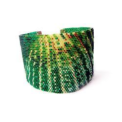 bransoleta,szeroka,zielona,Extrano - Bransoletki - Biżuteria