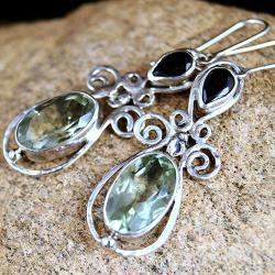 srebrne kolczyki z zielonym ametystem i granatem - Kolczyki - Biżuteria