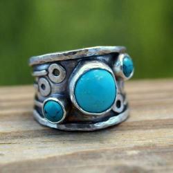 srebrny pierścionek z turkusami - Pierścionki - Biżuteria