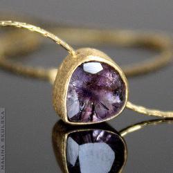 naszyjnik,kwarc,złocony,delikatny - Naszyjniki - Biżuteria