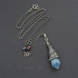 srebrny,wisior,długi,z kwarcem,surowy,amulet - Wisiory - Biżuteria