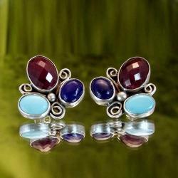 kolczyki na sztyftach z kamieniami - Kolczyki - Biżuteria