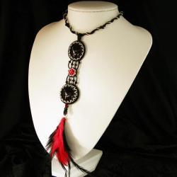 mroczny,gotycki,pióra,ekstrawagancki,drapieżny - Naszyjniki - Biżuteria