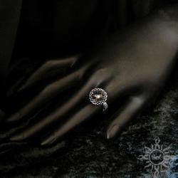 pierścionek,swarovski,grafitowy,efektowny - Pierścionki - Biżuteria