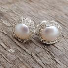 Kolczyki perły w koszyczkach,koronkowe,iwogg