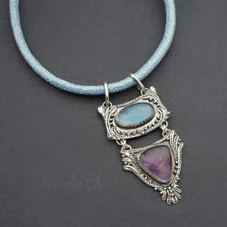 naszyjnik,srebrny,pasteowy,długi,z chalcedonem - Naszyjniki - Biżuteria