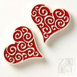 magnesy,ceramiczne,czerwone,serce,na lodówkę - Ceramika i szkło - Wyposażenie wnętrz