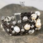 Bransoletki bransoleta z pereł,damska biżuteria ze skóry